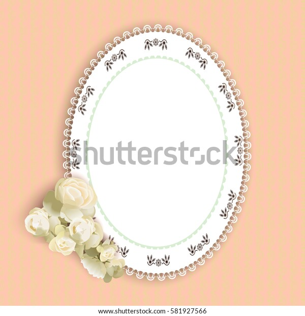 lacy doily and rose on pink background, vector illustration