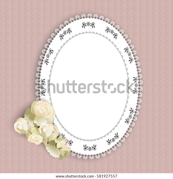 lacy doily and a rose on a purple background, vector illustration