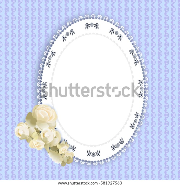 lacy doily and roses on light blue background, vector illustration