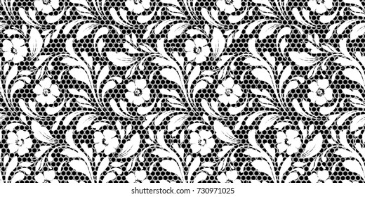 Lacy floral pattern. Seamless art flowers. Delicate lace texture for fabric, paper, wrapping, wallpaper.