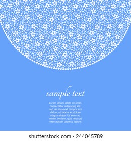 Lacy floral semicircle border with space for text. Vector background.