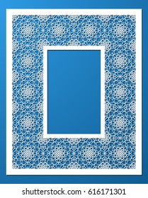 Lacy frame with carved openwork pattern. Vector Stencil. Template for interior design, decorative art objects etc. Image suitable for laser cutting, plotter cutting or printing. Stock vector