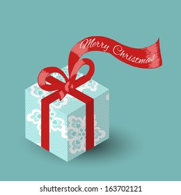 Lacy gift box with red ribbon -- Merry Christmas. Vector illustration.