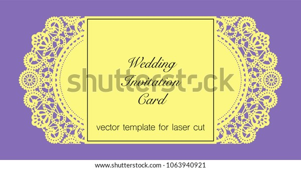 Lacy Wedding Invitation Card Laser Cut Stock Vector Royalty