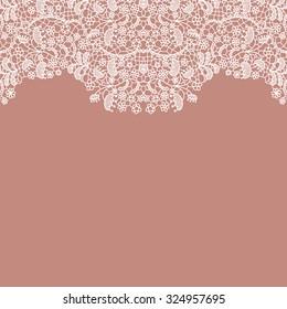 Lacy wedding invitation card. Seamless lace border. Vector illustration.