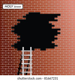 Ladder to black hole in red brick wall