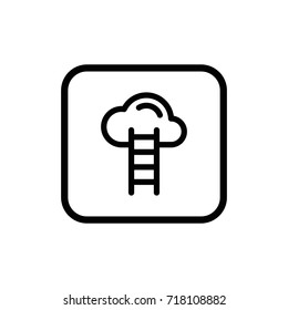 Ladder to the cloud line pictogram. Development and advancement outline vector icon.