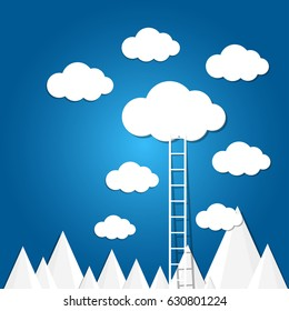 ladder to the clouds on blue background.