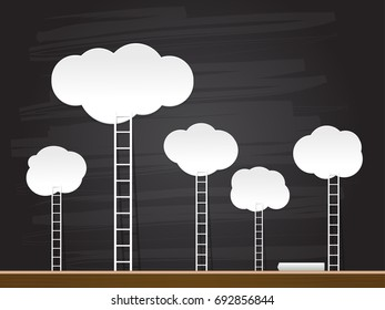 Ladder to the clouds on chalkboard. Vector illustration.