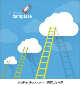 Ladder to clouds. Vector minimalistic design competition concept.