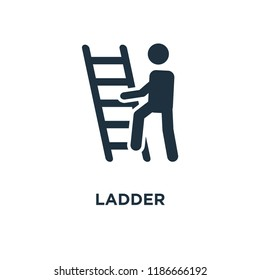 Ladder icon. Black filled vector illustration. Ladder symbol on white background. Can be used in web and mobile.