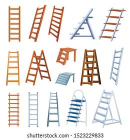 Ladder icons set. Cartoon set of ladder vector icons for web design