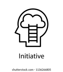 A ladder inside a human skull reaching through its brain, depicting idea for initiative icon