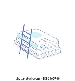 The ladder of knowledge leans on books, the more knowledge the more the horizon icon concept. Flat outline vector illustration of education, teaching, schooling, growth, evolution, studies progress.
