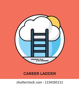 A ladder reaching to a sky high cloud conceptualizing career advancement icon