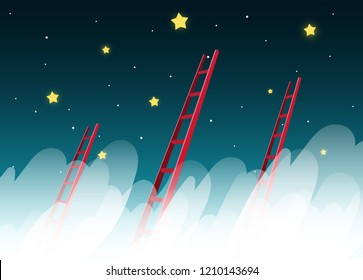 Ladder reaching up to reaching star against on night scene beautiful vertical Nature landscape, frame and space for text on sky background Vector texture style concept illustration