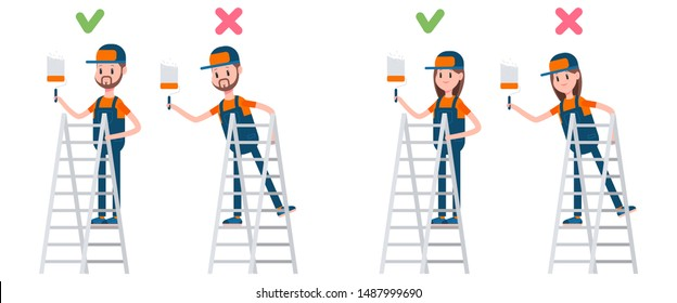 Ladder safety right and wrong position. Man and woman painting wall vector cartoon characters isolated on a white background.