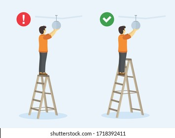 Ladder safety rules. Man standing on the top step of the ladder. Perspective view. Flat vector illustration.