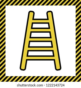 Ladder sign illustration. Vector. Warm yellow icon with black contour in frame named as under construction at white background. Isolated.