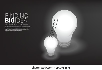 ladder from small light bulb to the big one. Business concept for finding big idea and design thinking