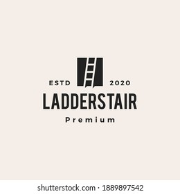 ladder stair hipster vintage logo vector icon illustration