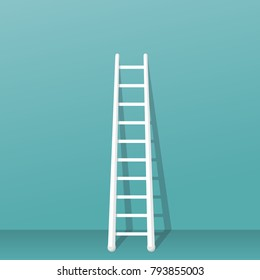Ladder stands near the wall. Isolated on background. Stairs vector illustration flat design. Up and down the stairs. Template for construction or career development.