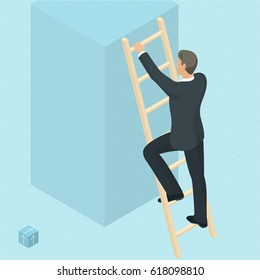 Ladder to success 3d isometric vector abstract template. Man on the ladder, front view.  Man on the ladder, back view.