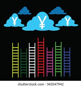 ladder of success and clouds marketing concept competition yen