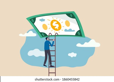 Ladder of success in financial freedom, climbing up to reach saving and investment target concept, confidence businessman climbing ladder high in the sky to get into money dollar banknote heaven.