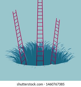 The ladder is in the trap. Isolated on blue background.