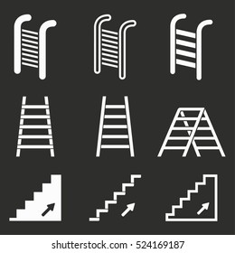 Ladder vector icons set. White illustration isolated on black background for graphic and web design.