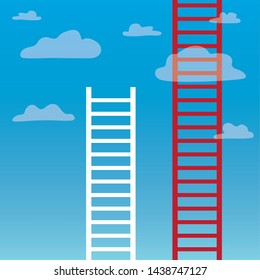 ladders to clouds, competition concept- vector illustration