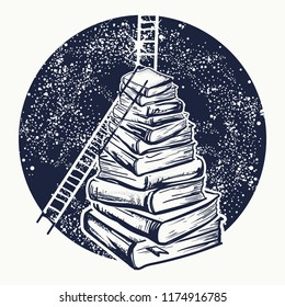 Ladders on stack of books tattoo. Symbol of education, science, knowledge, studying, dreams t-shirt design