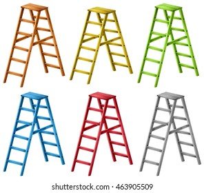 Ladders in six different colors illustration