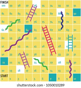 Ladders and snakes game board.