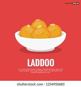 Laddoo Indian Sweet Dessert Vector Illustration