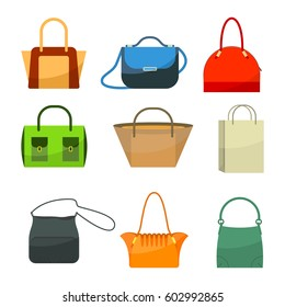Ladies bags icons flat design isolated on white. Colorful stylish accessories with long and short handles, pockets and buckles, just paper bag. Vector illustration of women's handbags.