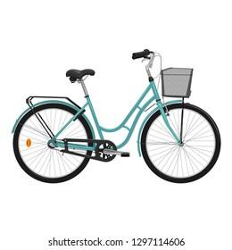 Ladies bike isolated on white background