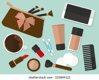 Ladies cosmetics table with make-up accessories, flat vectors