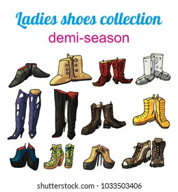 Ladies demi-season shoes vector collection
