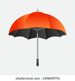 Ladies fashion accessories open realistic red umbrella isolated on grey background. vector illustration can be used for topics weather, rain, collection, fashion.