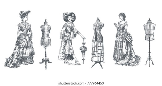 ladies and female body vintage mannequin set. Vintage tailor's dummy for female body and Antique dressed lady. Fashion and clothes. Woman figure collection Retro Illustration, engraving