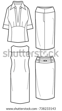 Ladies Flat Sketch Template Isolated Stock Vector (Royalty Free ...