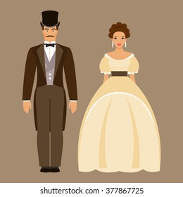 Ladies and gentleman. Man and woman in nineteenth century costumes