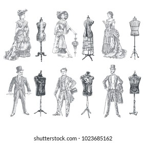 Ladies and Gentlemen body vintage mannequin set. Vintage tailor's dummy for body and Antique dressed men and women. Fashion and clothes. Human figure collection Retro Illustration in ancient engraving