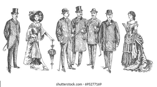 ladies and gentlemen. Man and woman figure collection. Vintage Hand Drawn Set. Clothing. Retro Illustration in ancient engraving style