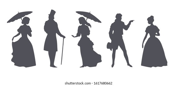 Ladies and gentlemen in suits of the 19th century, silhouettes on white background, created with vector