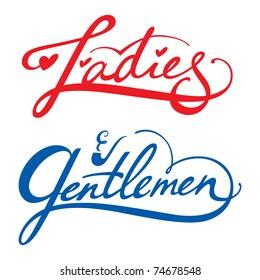 Ladies Gentlemen vector inscription man woman dressing room