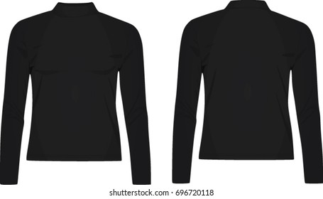 Ladies high neck long sleeve top. vector illustration