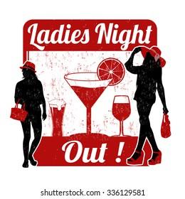 Ladies night grunge rubber stamp on white background, vector illustration